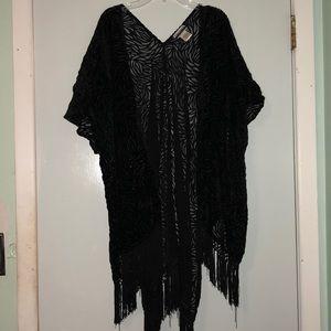 Mesh cutout black kimono with fringe